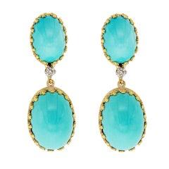 Vintage Cellino 18 Karat Yellow Gold Diamond Blue Turquoise Earrings