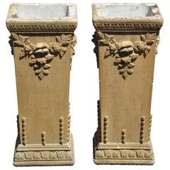 Vintage Cement French Victorian Tall Floral Pedestal Planter Pot Stands, a Pair