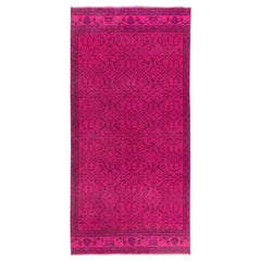 Vintage Central Anatolian Rug Overdyed in Fuchsia Pink Color