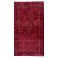 4x7.3 ft Vintage Handmade Turkish Medallion Wool Rug Over-dyed in Red
