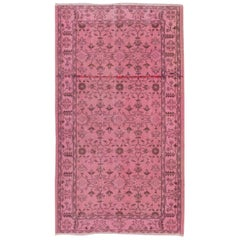 Vintage Central Anatolian Rug Overdyed in Pink Color