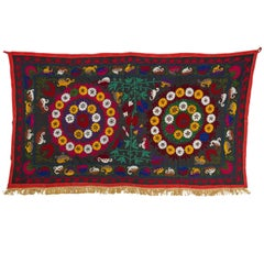 Vintage Central Asian Suzani Textile. Embroidered Silk Wall Hanging