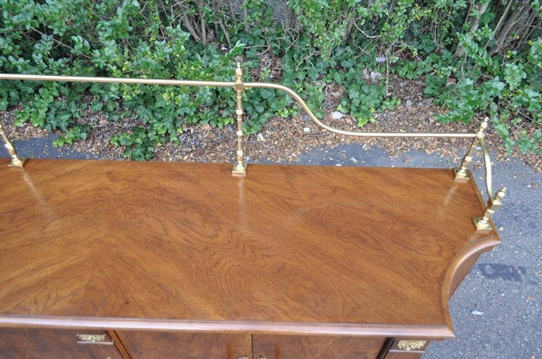 Vintage Century French Empire Neoclassical Burl Wood Credenza Sideboard Cabinet For Sale 6