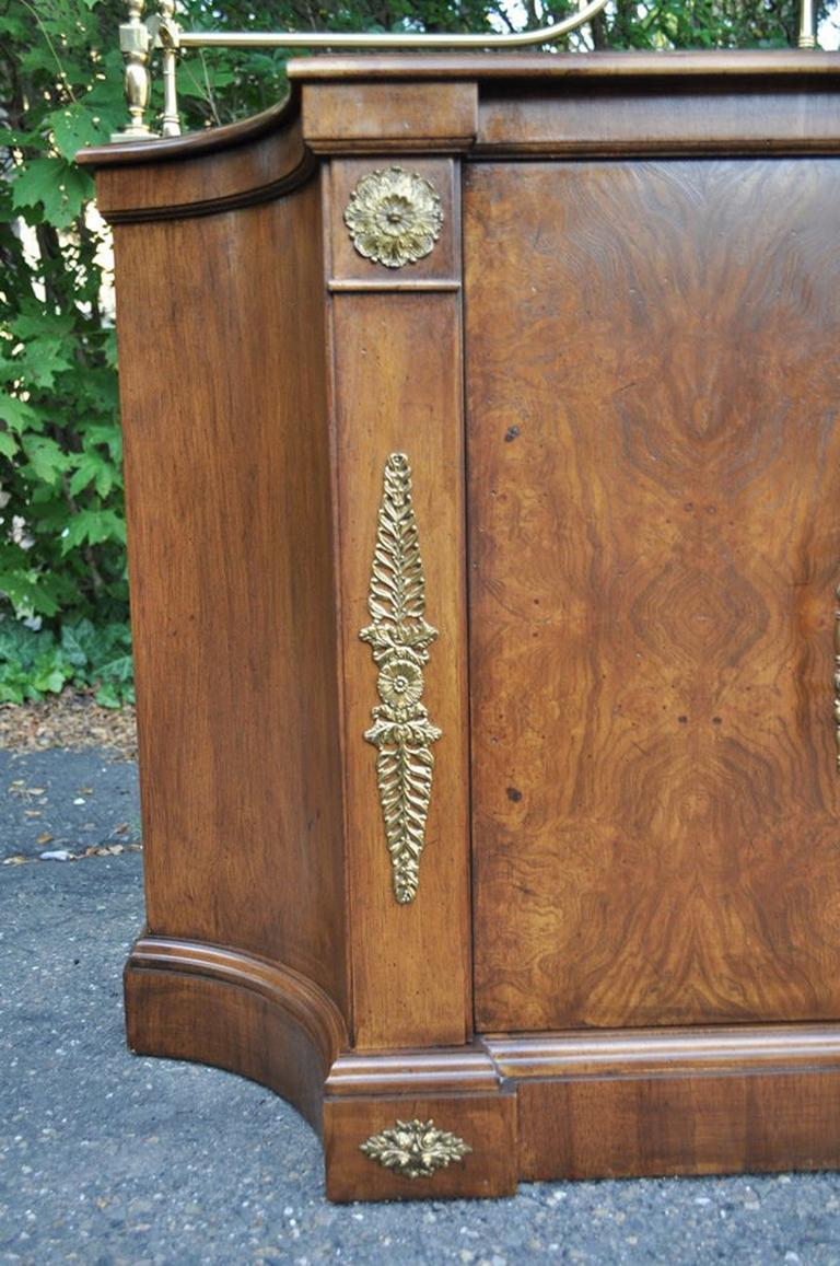 Vintage Century French Empire Neoclassical Burl Wood Credenza Sideboard Cabinet In Good Condition For Sale In Philadelphia, PA