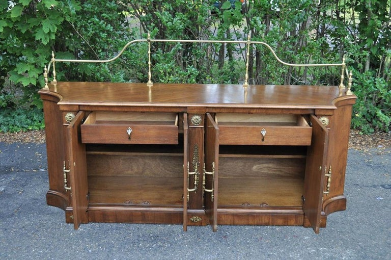Late 20th Century Vintage Century French Empire Neoclassical Burl Wood Credenza Sideboard Cabinet For Sale