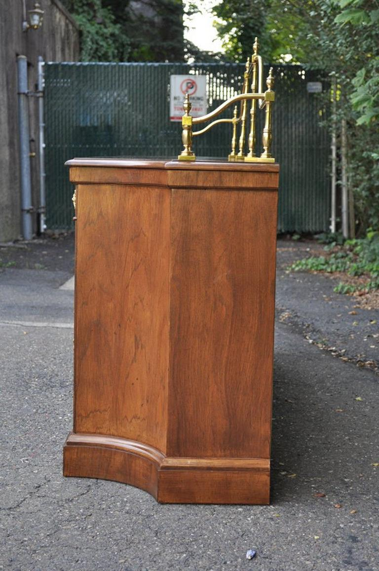 Vintage Century French Empire Neoclassical Burl Wood Credenza Sideboard Cabinet For Sale 1