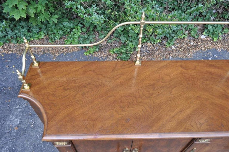 Vintage Century French Empire Neoclassical Burl Wood Credenza Sideboard Cabinet For Sale 2