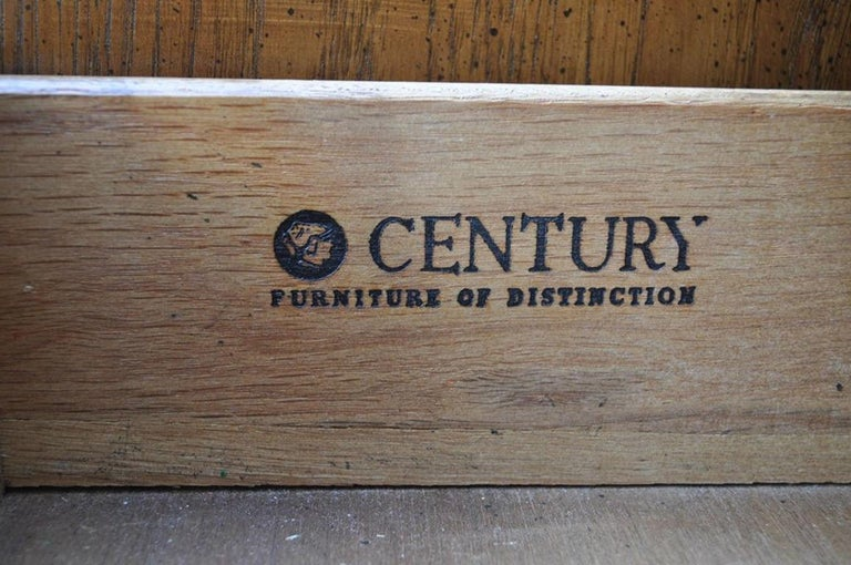 Vintage Century French Empire Neoclassical Burl Wood Credenza Sideboard Cabinet For Sale 4