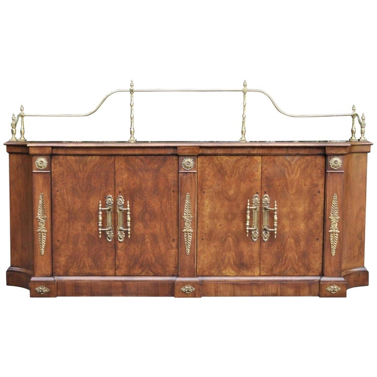 Vintage Century French Empire Neoclassical Burl Wood Credenza Sideboard Cabinet For Sale