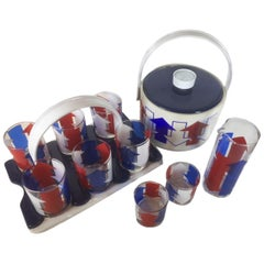 Vintage Cera Glassware, Red, White and Blue Arrow Barware Suite