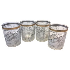 Vintage Cera, Ten Year Dow-Jones Industrial Average, '1958-1968', Rocks Glasses