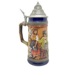 Vintage Ceramic Beer Stein Lidded with Pewter Lid by Gerz, 1960s
