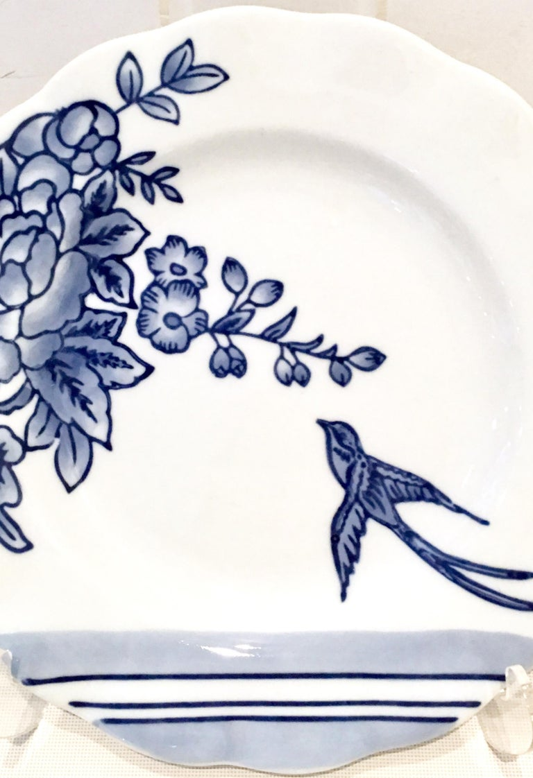 20th Century Vintage Ceramic Blue & White Salad/Dessert Plates S/9 by, Creativeco-Op For Sale