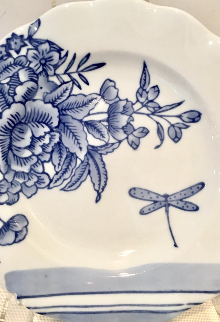 Vintage Ceramic Blue & White Salad/Dessert Plates S/9 by, Creativeco-Op For Sale 2