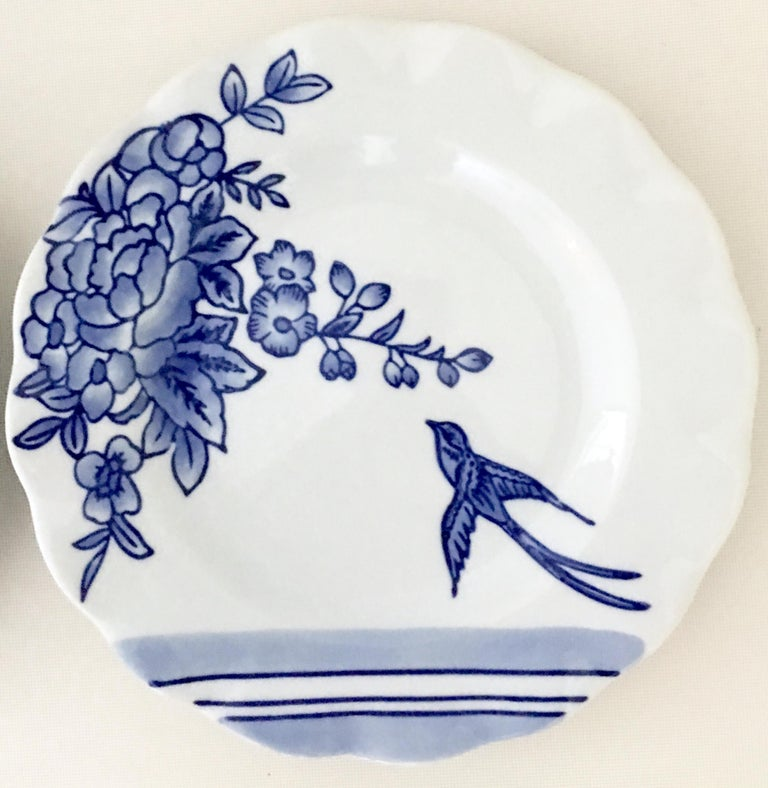 Vintage Ceramic Blue & White Salad/Dessert Plates S/9 by, Creativeco-Op For Sale 5