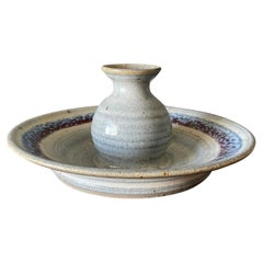 Vintage Ceramic Candle Holder by Blue Spruce Pottery, circa 1987