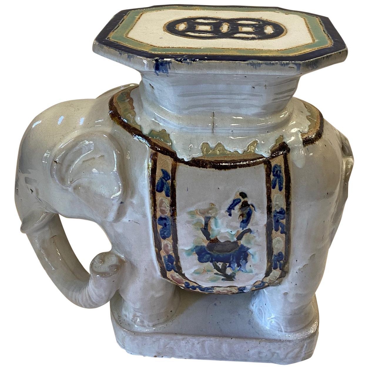 Vintage Ceramic Elephant Motife Garden Seat End Table