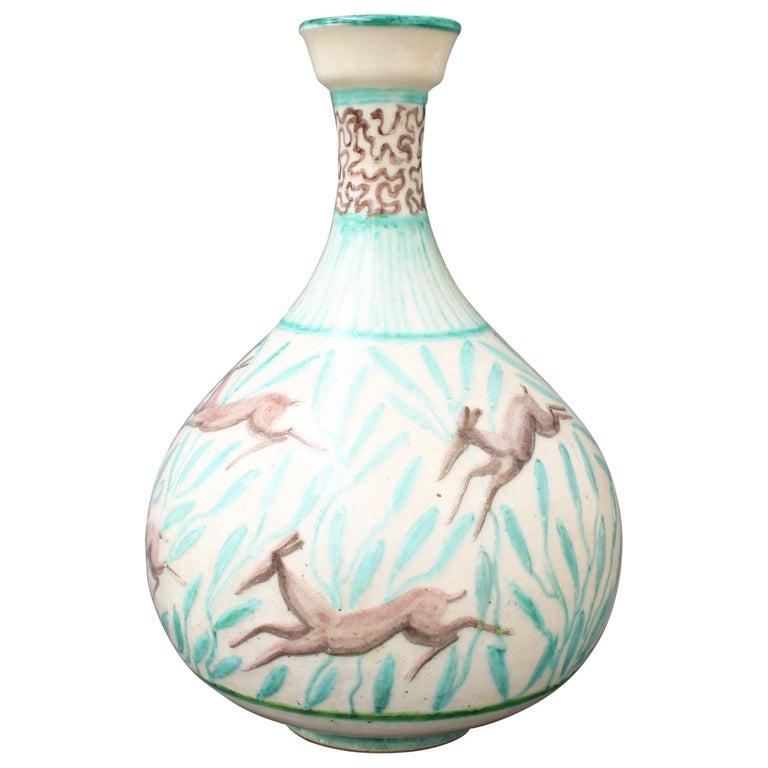 Vintage Ceramic Flower Vase by Jean Mayodon, circa 1960s For Sale