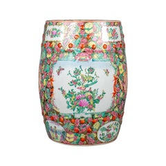 Vintage Ceramic Garden Stool, Chinese, Famile Rose, Plant Stand 20th Century