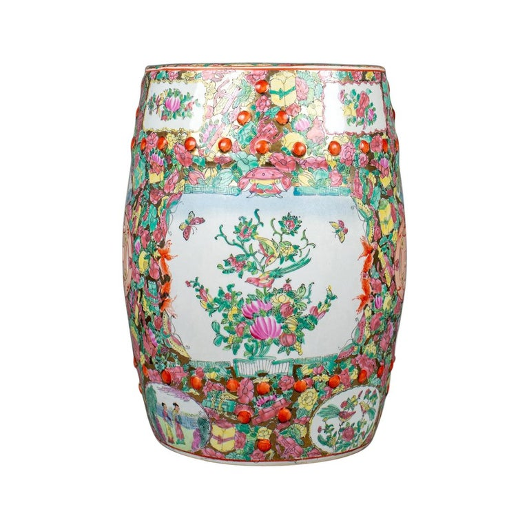 Vintage Ceramic Garden Stool, Chinese, Famile Rose, Plant Stand 20th Century For Sale