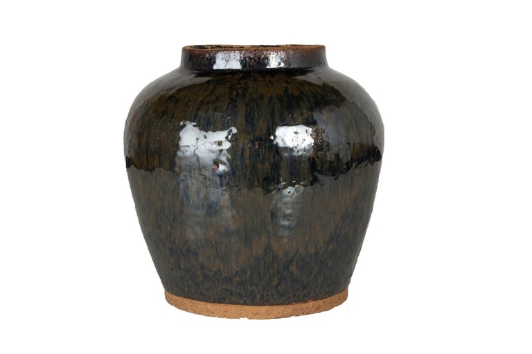 Vintage ceramic glazed storage jar.