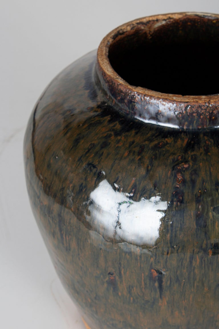 Primitive Vintage Ceramic Glazed Storage Jar For Sale