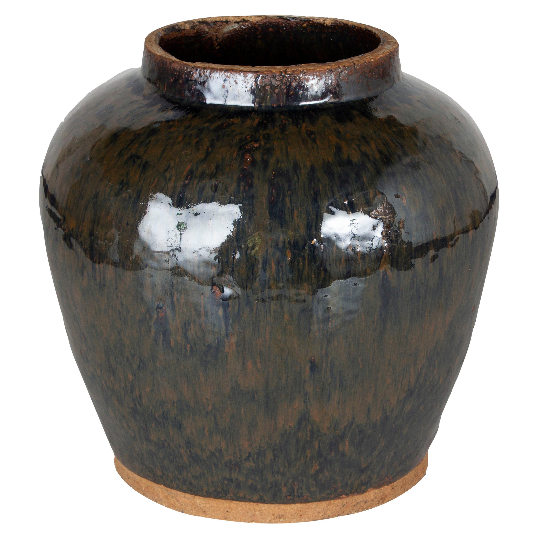 Vintage Ceramic Glazed Storage Jar
