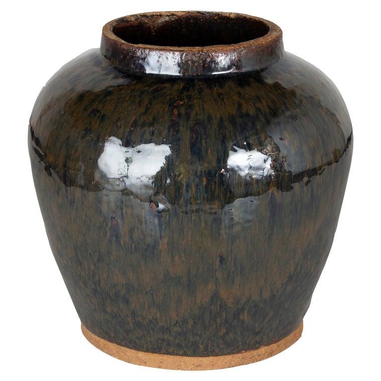 Vintage Ceramic Glazed Storage Jar For Sale