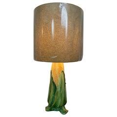 Handbemalte glasierte Vintage Keramik Maiskolben-Tischlampe mit neuem Lampenschirm