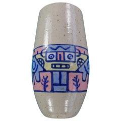 Vintage Ceramic Hand Painted Vase by Néstor, 1990