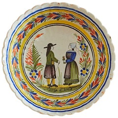 Vintage Ceramic Hanging Platter with Decorations, France, Late 19th Century