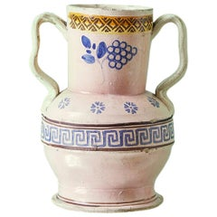 Vintage Ceramic Jar with Handles and Decorations, Italy, Late 19th Century
