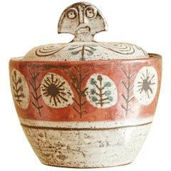 Vintage Ceramic Lidded Jar with Decorations by Gustave Reynaud, France, 1950s