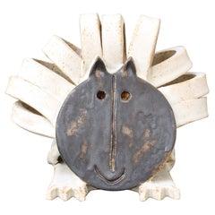 Vintage Ceramic Lion Sculpture by Bruno Gambone 'circa 1990s'