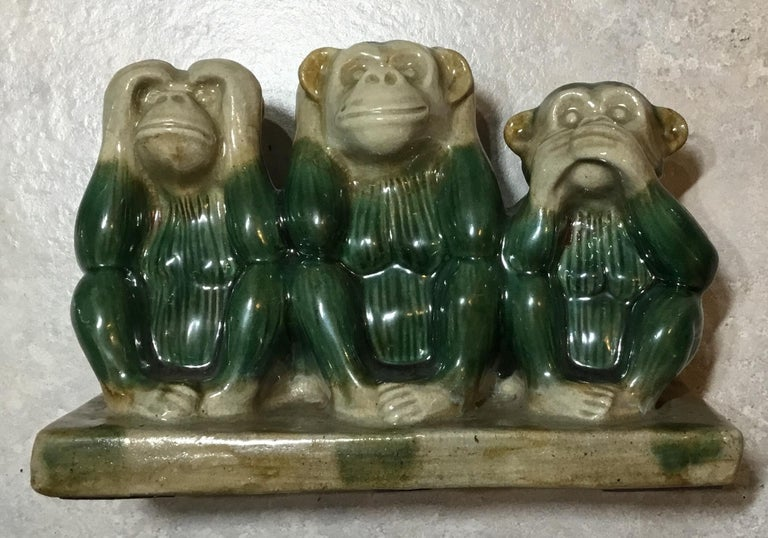 Vintage Ceramic of the Three Monkey For Sale 6