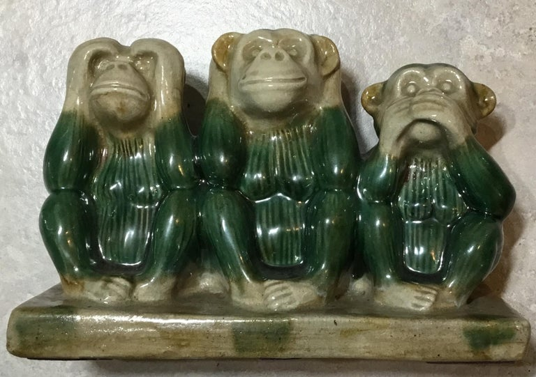 Vintage Ceramic of the Three Monkey For Sale 7