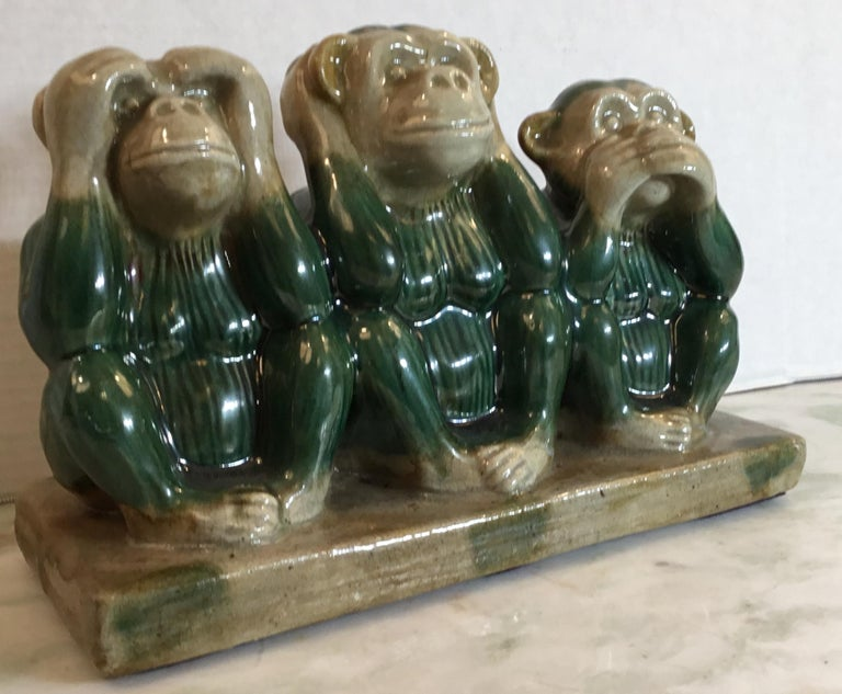 Funky heavy ceramic statue of the three monkey 'See NoEvil, Hear No Evil, Speak No Evil. Hand painted and glazed, interesting facial expression, beautiful object of art for display. Signed in the bottom by the artist.