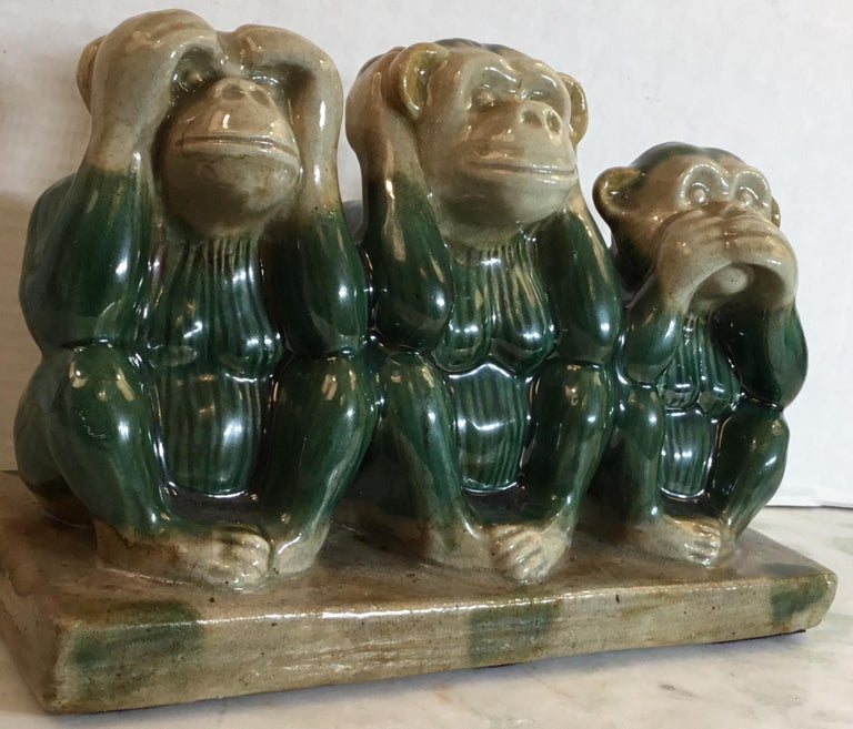 American Vintage Ceramic of the Three Monkey For Sale