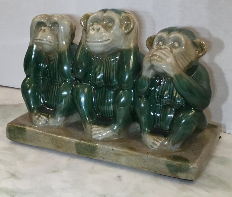 Vintage Ceramic of the Three Monkey In Good Condition For Sale In Delray Beach, FL