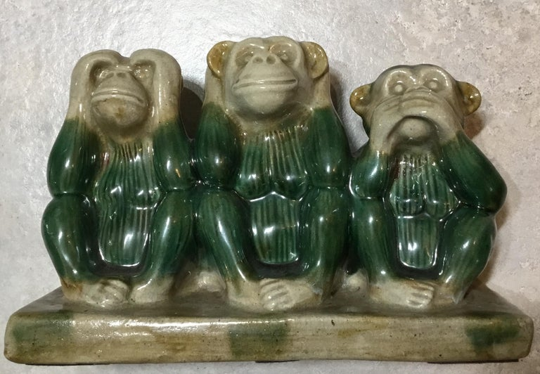 Vintage Ceramic of the Three Monkey For Sale 1