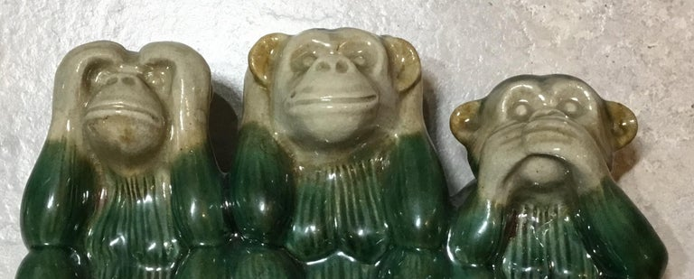 Vintage Ceramic of the Three Monkey For Sale 2