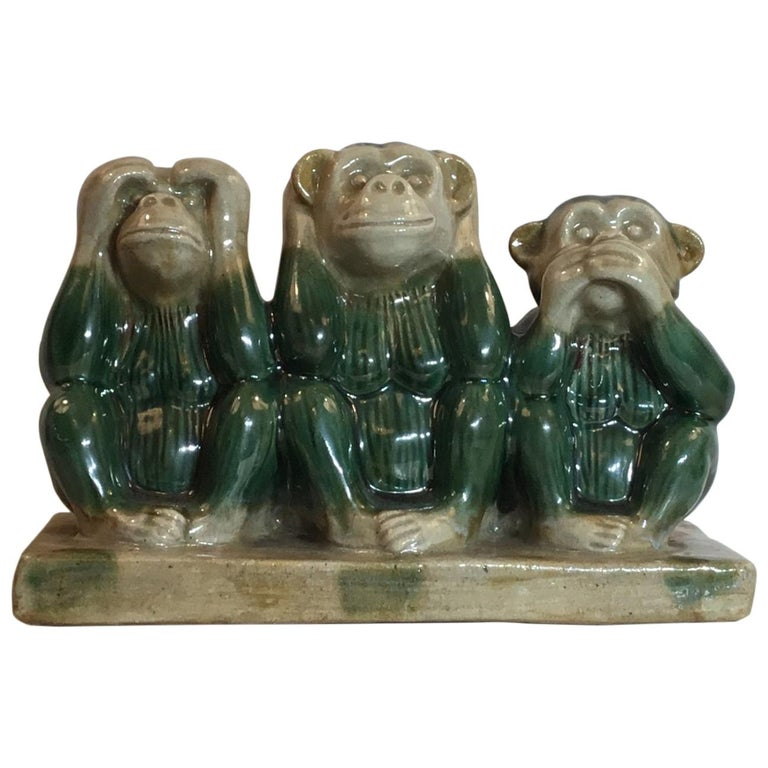 Vintage Ceramic of the Three Monkey For Sale