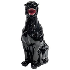 Vintage Ceramic Panther Made in Italy, 1970s