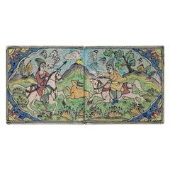 Vintage Ceramic Persian Tile Wall Hanging