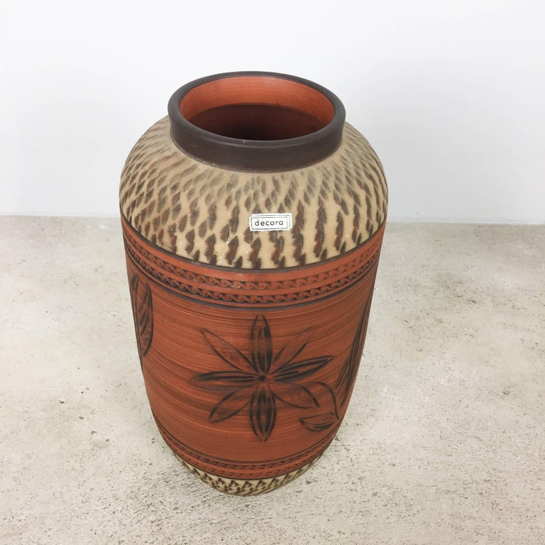 Mid-Century Modern Vintage Ceramic Pottery Floor Vase by Decora Ceramic, Germany, 1960s For Sale