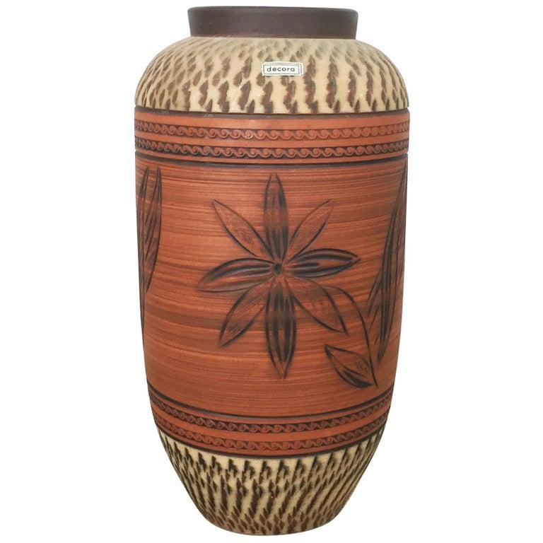 Vintage Ceramic Pottery Floor Vase by Decora Ceramic, Germany, 1960s For Sale