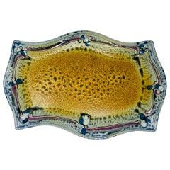 Vintage Ceramic Reptile Optic Style Glazed Platter