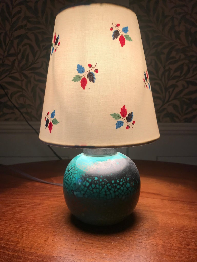 Lovely ceramic table lamp with turquoise crackled glaze and new lamp shade.