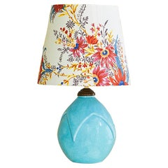 Vintage Ceramic Table Lamp in Turquoise Glaze and Customized Shade, France