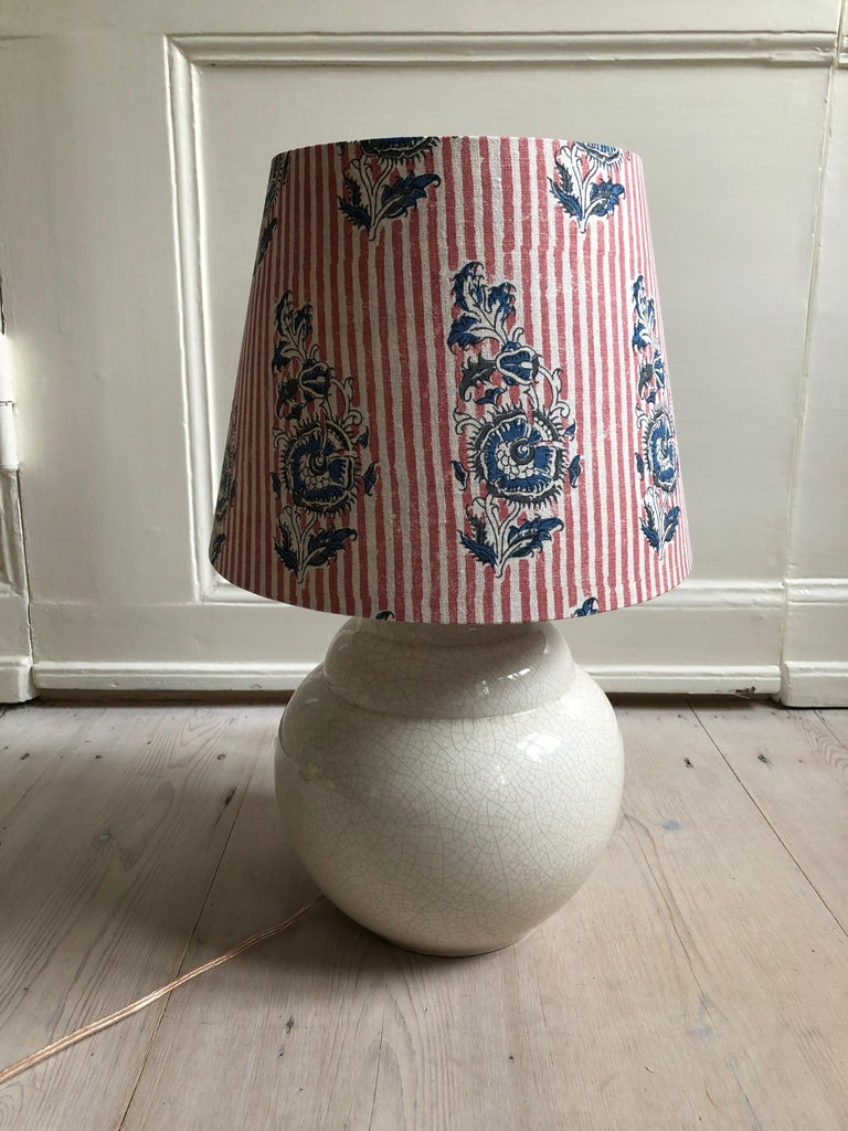 French Vintage Ceramic Table Lamp with Customized Shade, France, 1930s For Sale